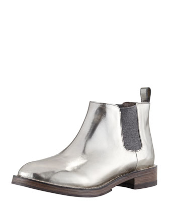 Metallic Pull-On Ankle Boot