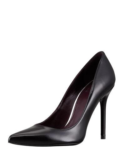 Nouveau Leather Point-Toe Pump, Black