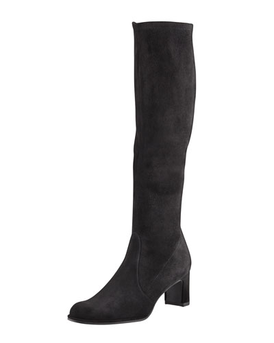 Chicboot Stretch Suede Knee Boot, Black