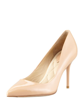 Malika Patent Pointed-Toe Pump, Natural