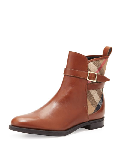 Richardson Leather & Check Bootie, Chestnut