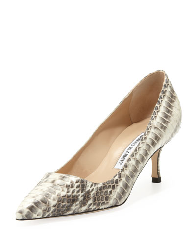 BB Low-Heel Snake Pump, Natural