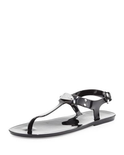 MK Plate Jelly Flat Thong Sandal, Black