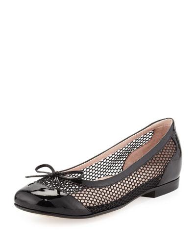 Blanche Cap-Toe Net Ballerina Flat, Black