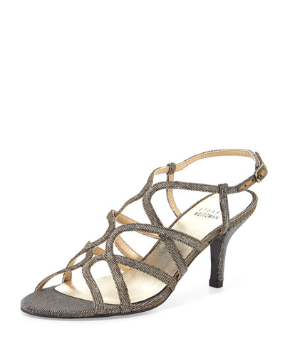 Turningup Strappy Glitter Sandal, Pyrite