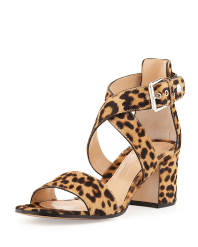 Leopard-Print Calf Hair Low-Heel Sandal