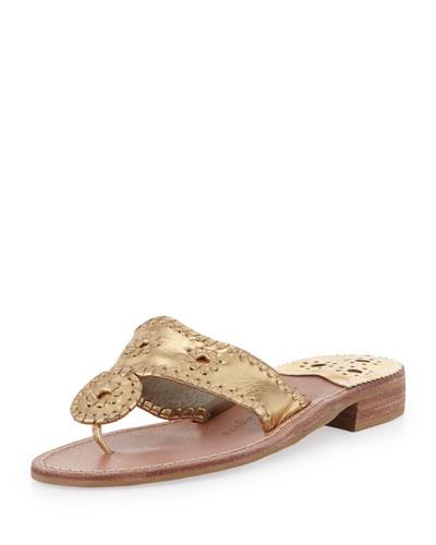 Hamptons Whipstitch Thong Sandal, Gold
