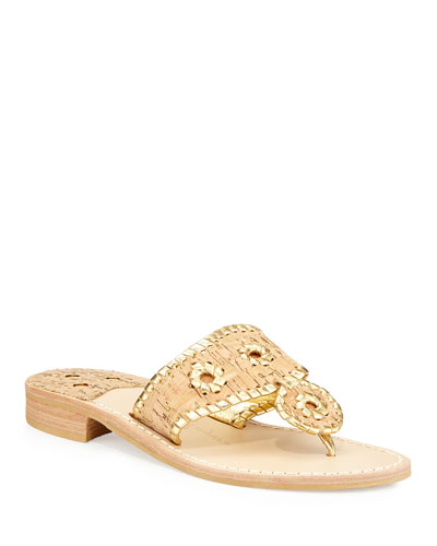 Napa Valley Cork Thong Wedge, Natural/Gold