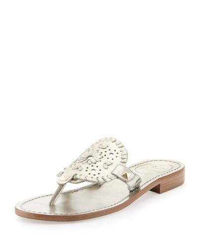 Georgica Metallic Thong Sandal, Platinum