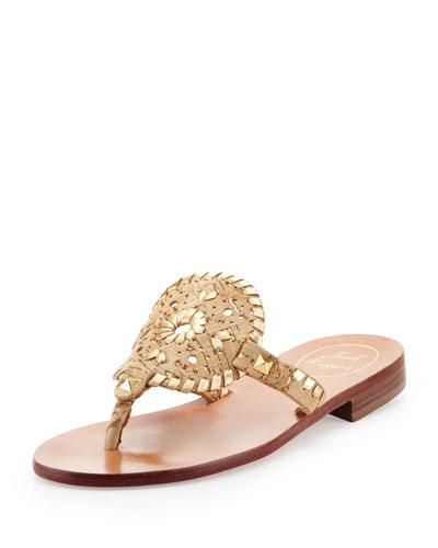 Georgica Cork/Metallic Thong Sandal, Gold