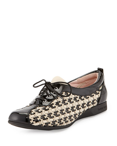 Trudee Woven Lace-Up Sneaker, Bone/Black