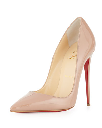 So Kate Patent 120mm Red Sole Pump, Nude