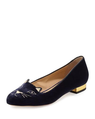 Kitty Velvet Ballerina Flat, Navy/Gold