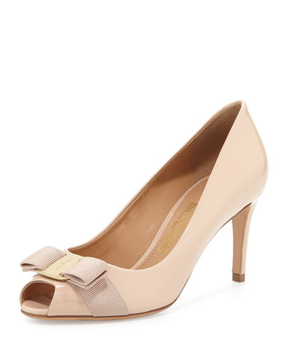 Pola Patent Peep-Toe Bow Pump, New Bisque