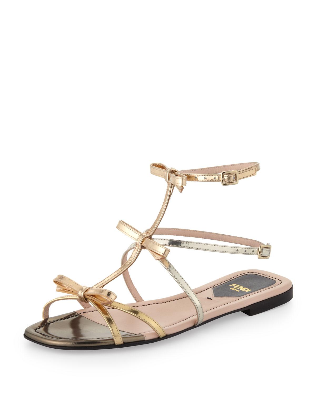 Triple Bow Metallic Flat Sandal
