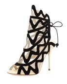 Mila Suede Cutout Peep-Toe Heel, Black