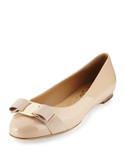 Patent Leather Bow Flat