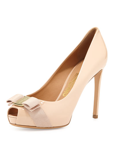 Plum Peep-Toe Bow Pump, New Bisque