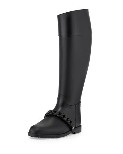 Chain-Strap PVC Rain Boot, Black