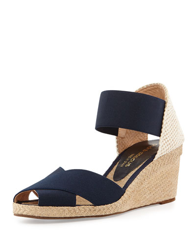 Erika Stretch Espadrille Wedge, Navy