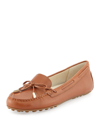Daisy Leather Moccasin Loafer, Luggage