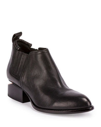 Kori Leather Lift-Heel Ankle Boot, Black