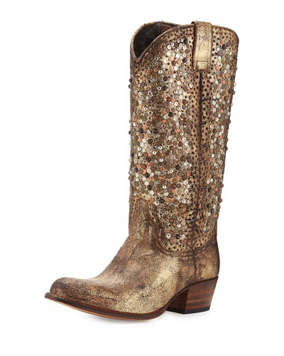 Deborah Studded Tall Western Boot