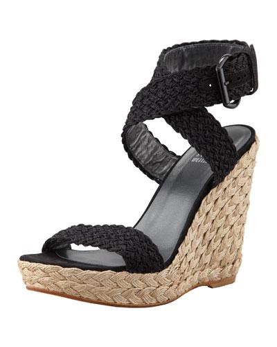 Alex Crochet Wedge Sandal, Nero