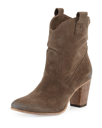 Chiara Slouchy Suede Western Ankle Boot, Tortora