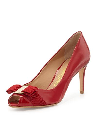 Pola Patent Peep-Toe Bow Pump, Rosso