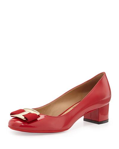 Ninna Low-Heel Bow Pump, Rosso