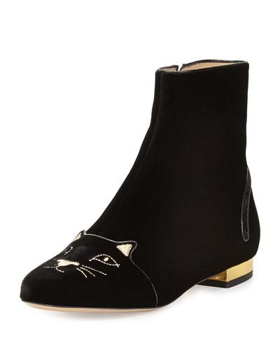 Velvet Puss in Boots Short Boot, Black