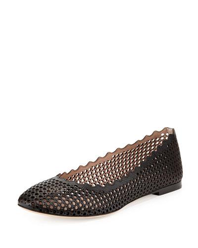 Perforated Leather Ballerina Flat, Black