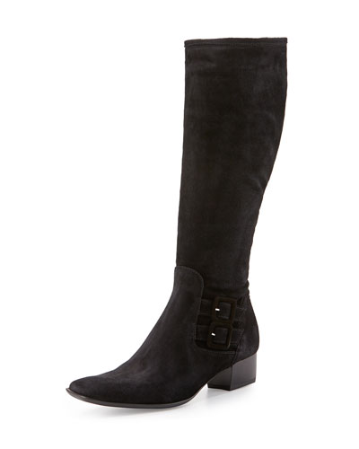 Delice Suede Knee Boot, Black