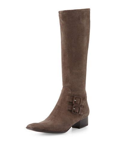 Delice Suede Knee Boot, Taupe
