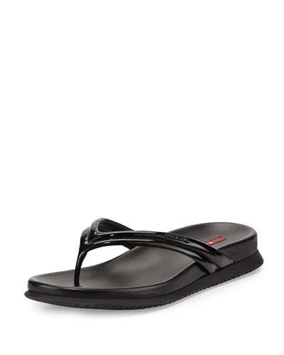 Patent Leather Thong Sandal, Nero