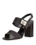 Leather Turnlock Slingback Sandal, Nero