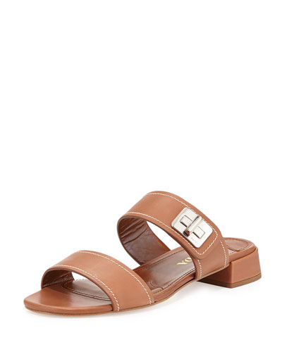 Leather Turnlock Slide Sandal
