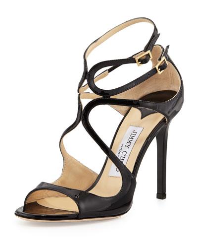 Lang Patent Strappy Sandal, Black