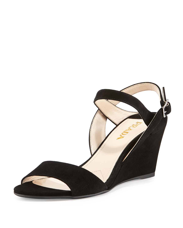 Suede Slingback Wedge Sandal