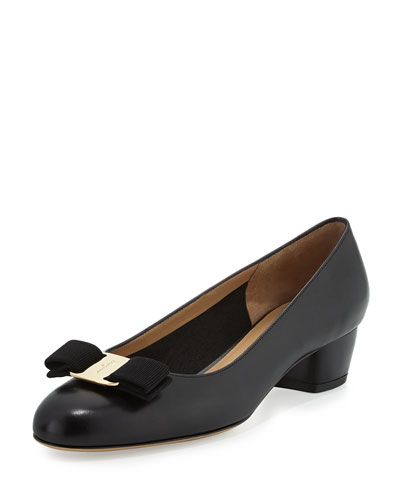Leather Bow Pump, Nero