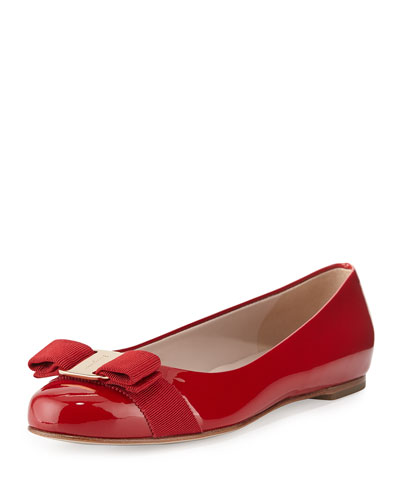 Varina Patent Bow Ballerina Flat, Rosso (Red)
