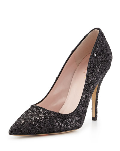 licorice glitter point-toe pump, black