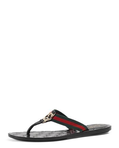 GG Web Thong Sandal, Black