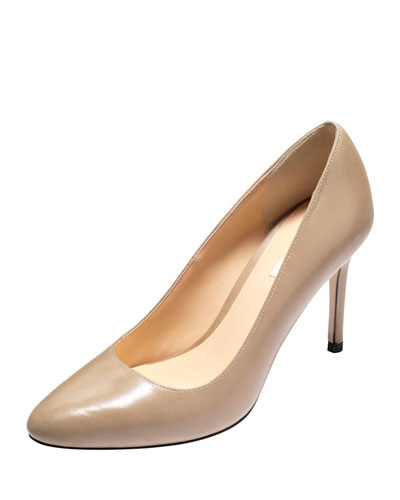Bethany Almond-Toe Leather Pump,Maple Sugar