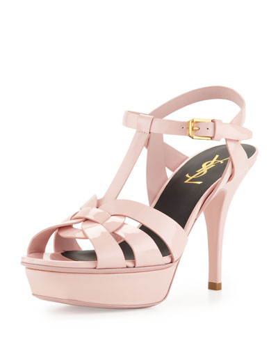 Tribute Heel Patent Leather Platform Sandal