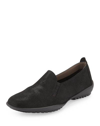 Angy Suede Slip-On Loafer, Black