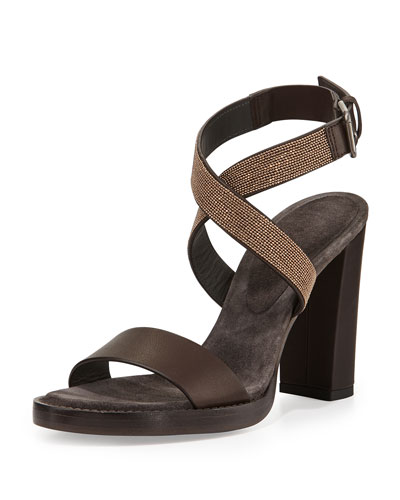 Monili Cross-Strap Block-Heel Sandal