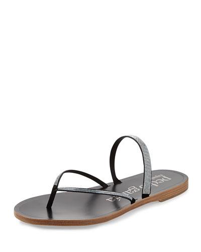 Ilsa Flat Crystal Thong Sandal, Black