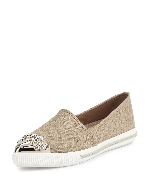 Embellished Cap-Toe Linen Loafer, Corda